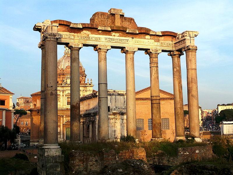 Tempio di Saturno, nel Foro Romano. Retro
