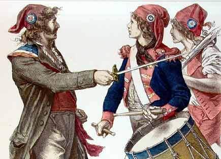 I Sansculottes, figura iconica della rivoluzione francese, indossando i berretti della libertà tipici degli ex schiavi e indossati durante i Saturnalia per sottolineare l'uguaglianza sociale