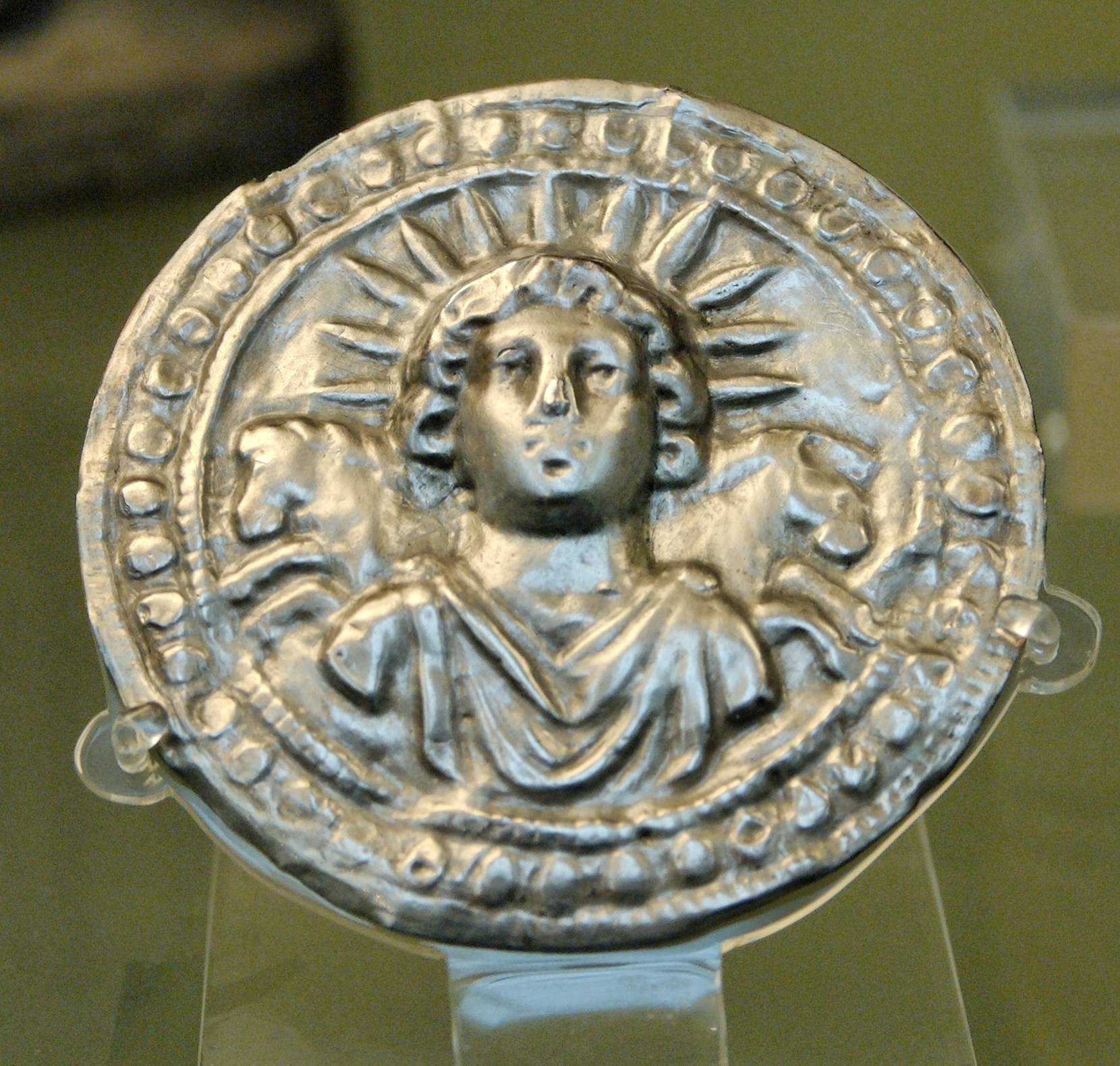 Leaf disc dedicated to Sol Invictus. Silver, Roman artwork, 3rd century AD. From Pessinus (Bala-Hissar, Asia Minor)